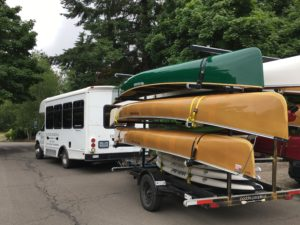 Trailer of Wenonah Canoes and Bus in Oregon - www.PaddlePeople.us