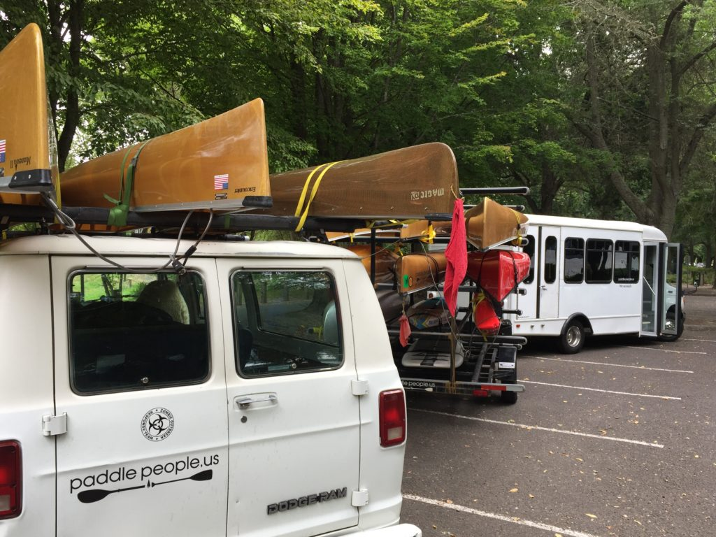 Paddle People Bus Van and Trailer of Wenonah Canoes Vancouver Lake Park Washington