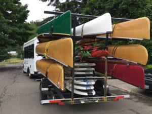 Paddle People bus with trailer of Wenonah Canoe Portland Oregon - www.PaddlePeople.us