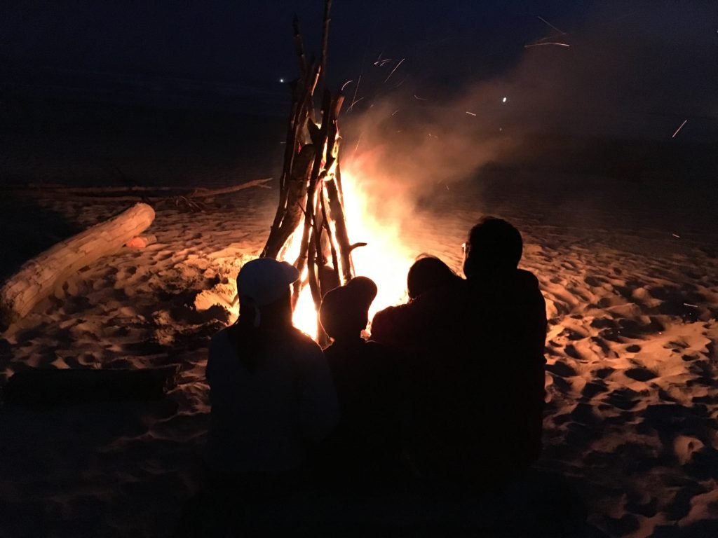 Oregon Coast Bonfire on Beach SouthBeach Park - www.PaddlePeople.us