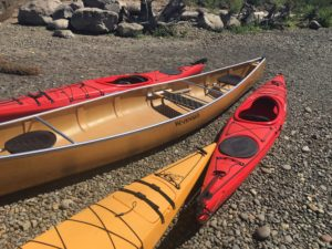 Wenonah Seneca Kevlar Canoe with Current Designs Vision 150R Kayaks at Milwaukie Bay Park - www.PaddlePeople.us