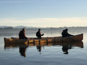 Canoeing at sunrise on Vancouver Lake